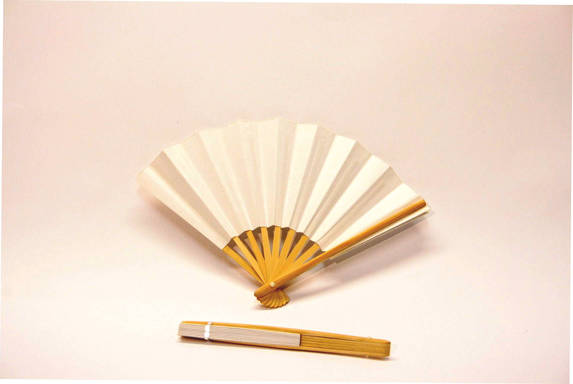 18cm japanese bamboo rib white paper fan wills quills