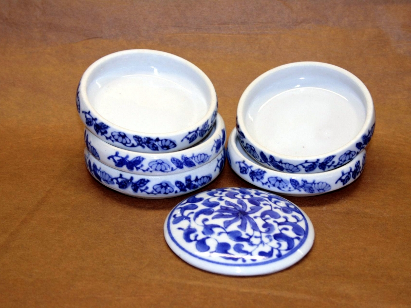 8cm Blue Patterned Colour Stacking Dish 藍五組缸
