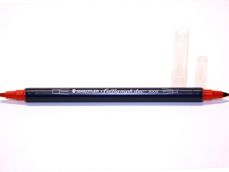 Staedtler Calligraphy Red Coloured Dual Points- 2.0 and 3.5mm