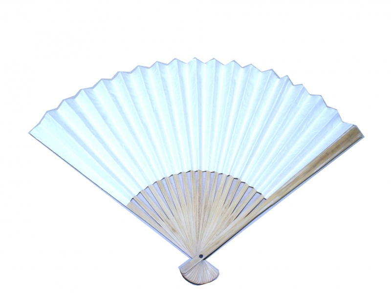 30cm Bamboo Rib Off-White Paper Fan