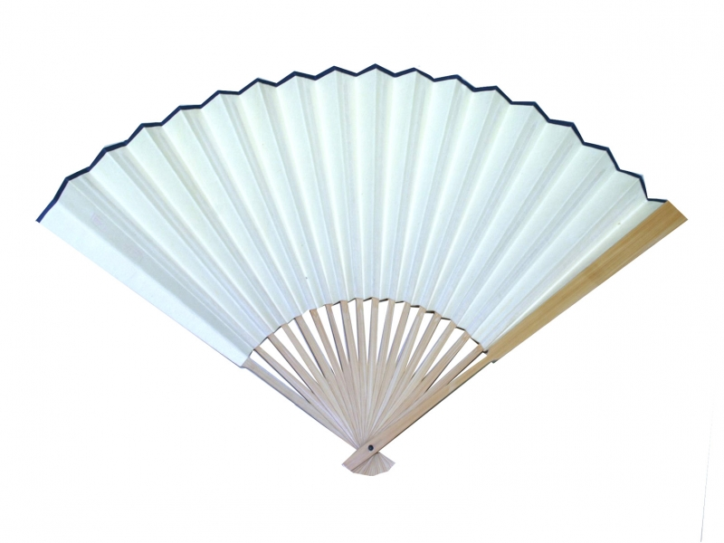 30cm Japanese Light Brown Bamboo Rib Off-White Paper Fan