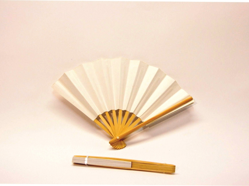 18cm Japanese Bamboo Rib White Paper Fan