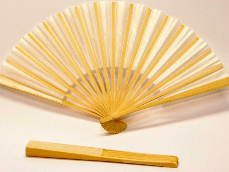 23cm Bamboo Ribs with White Silk Fan