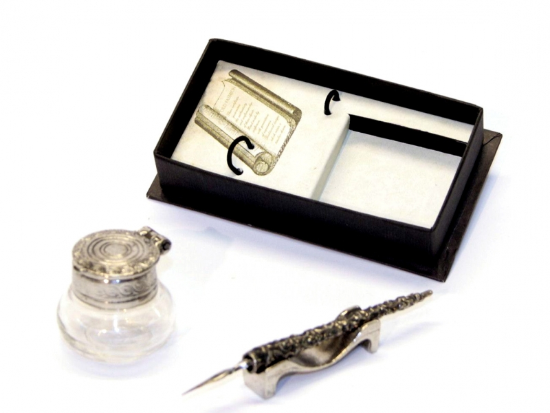 Duomo Silver Calligraphy Set with Ink Bottle