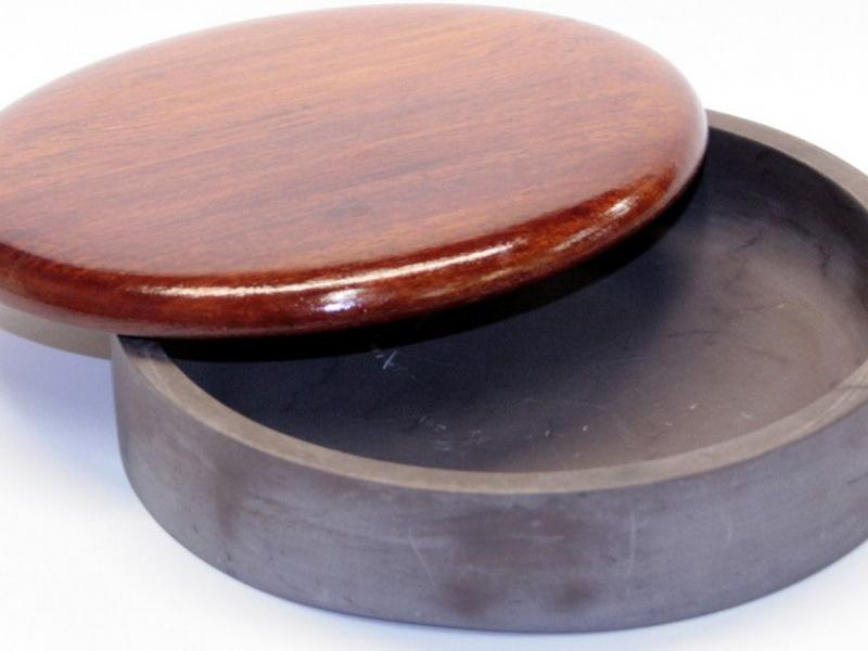圓型七寸石硯有木蓋 18cm Round Slate Ink Stone with Wooden Lid