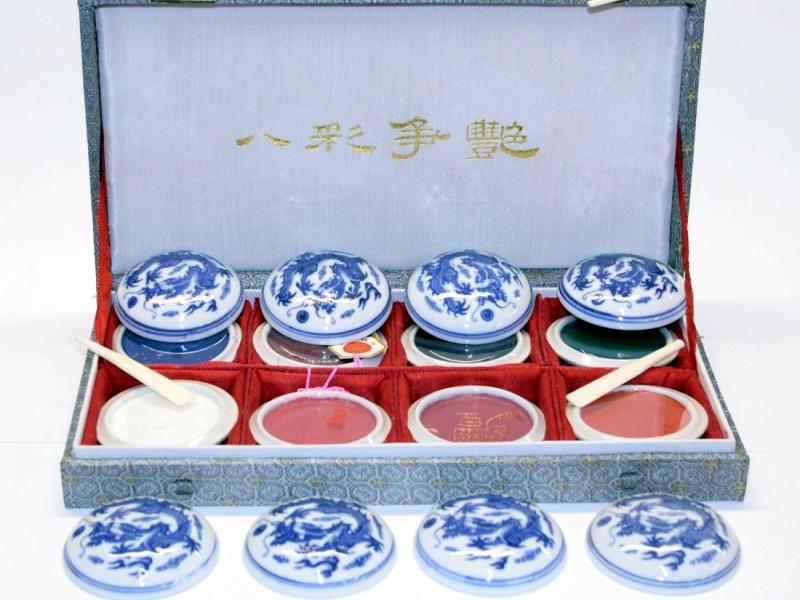 8 Seal Mud Colour Set 八彩爭艷印泥套
