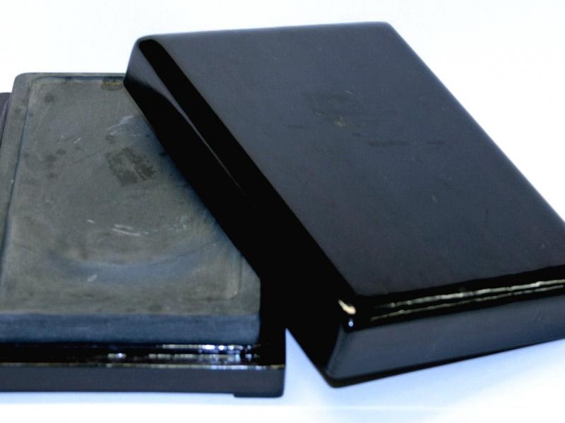 端硯木合裝中 Medium  Artist Grade Ink Stone in Wooden Box
