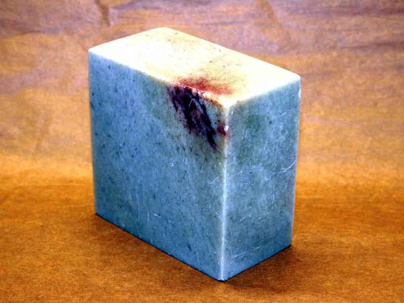 青田石方平頭印 90mm Qingtianshi Square Plain Seal Stone