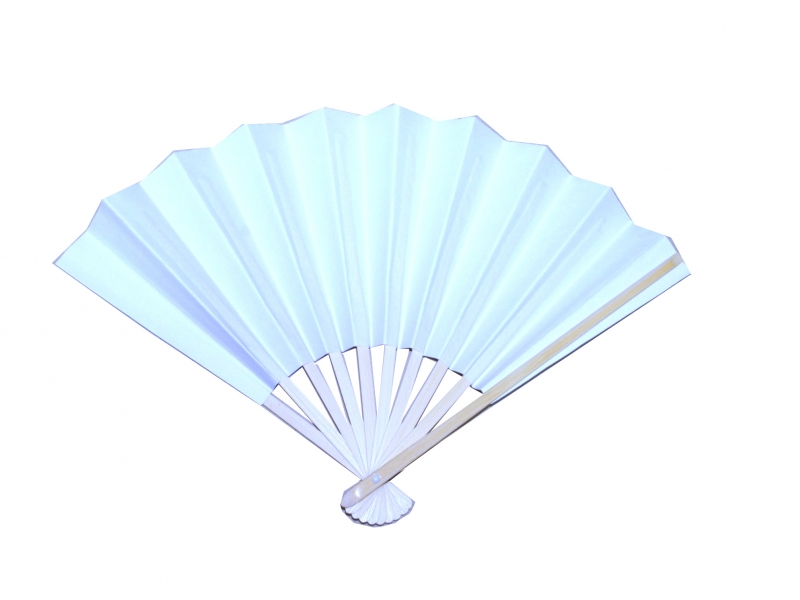 7346 23cm White paper Bamboo Fans with Spring Bowed handles