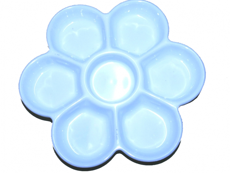 16cm White Plastic Color Mixing Plate