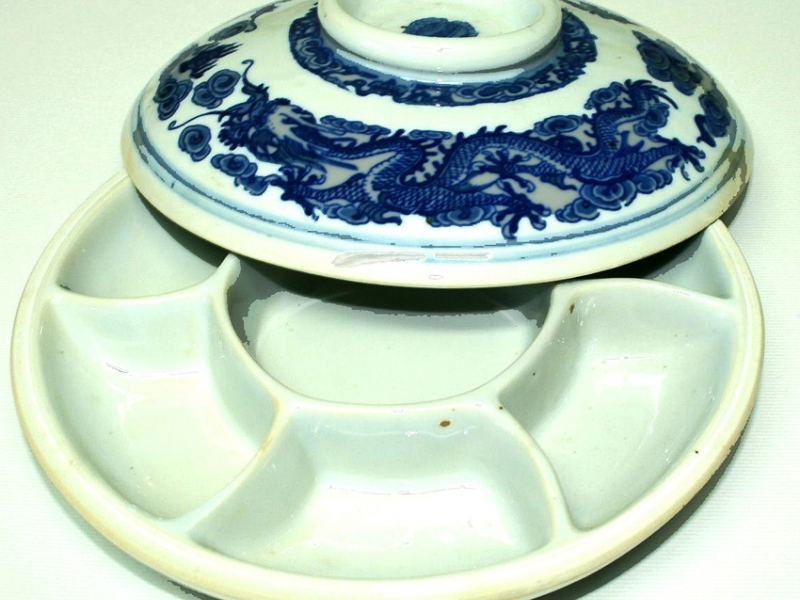 20cm Blue Ceramic Color Mixing Dish