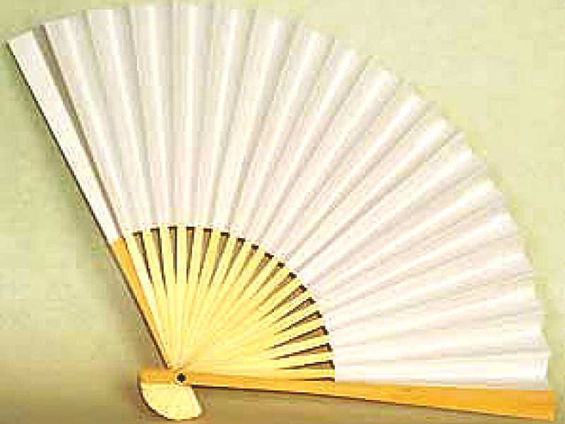 26cm Off-White Bamboo Fan